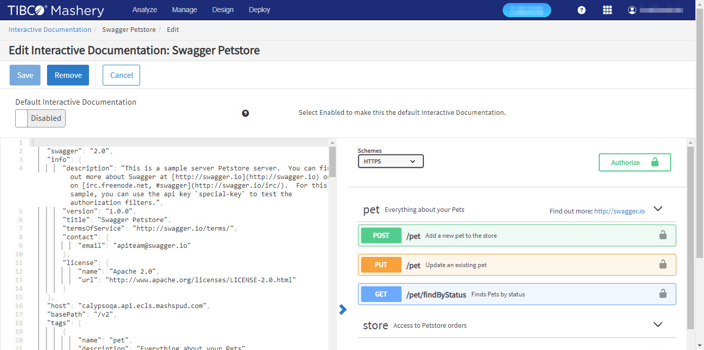 Creating and Editing Interactive Documentation for API